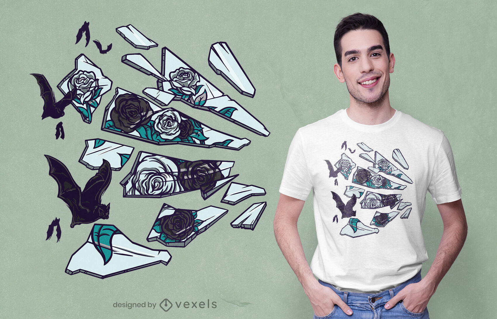 T-Shirt-Design mit zerbrochenen Spiegelrosen und Fledermäusen