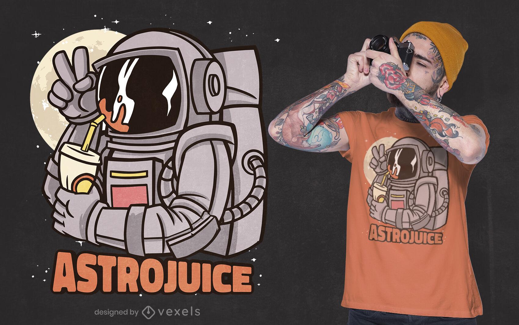 Diseño de camiseta de jugo de astronauta.
