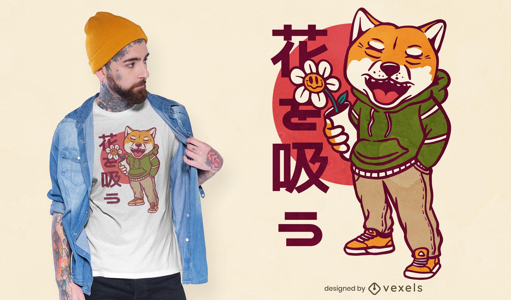 Diseño de camiseta de personaje de perro shiba inu.