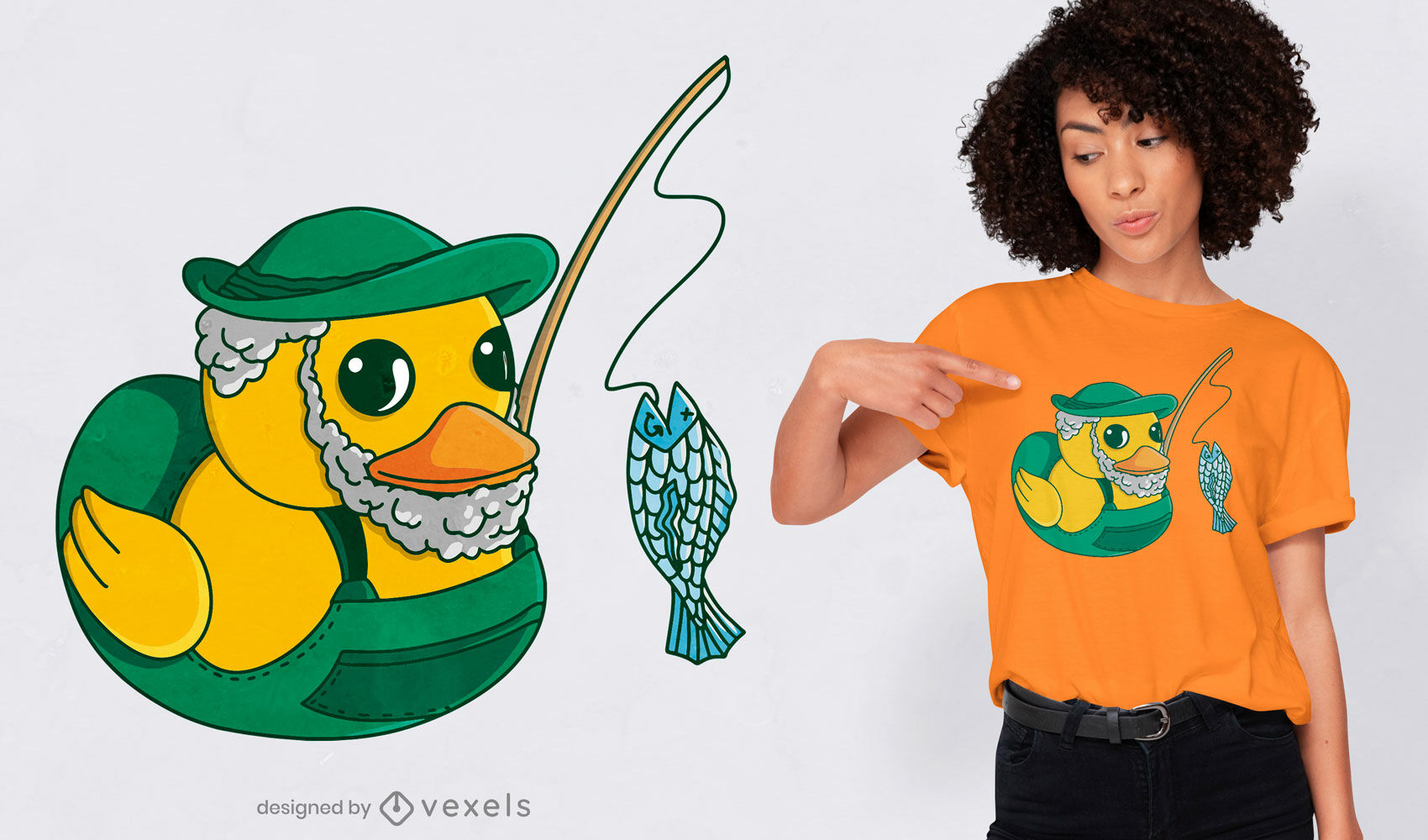 Desenho de t-shirt de desenho animado de pato de borracha para pesca