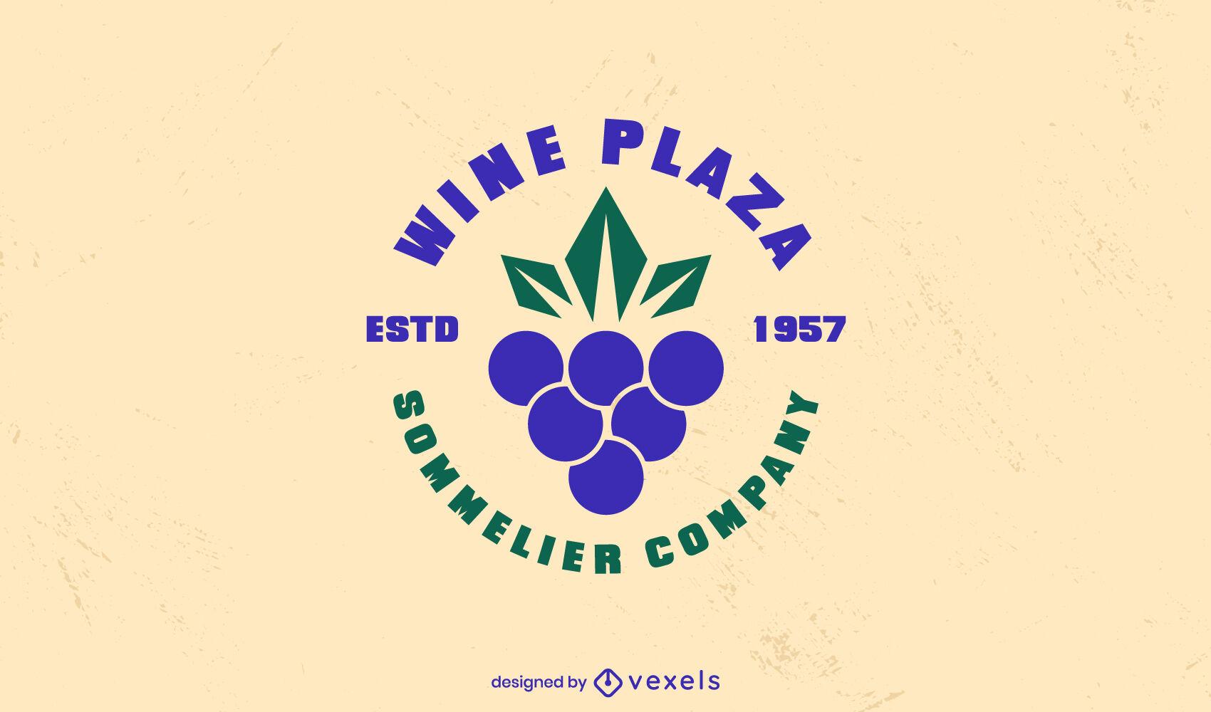 Plantilla de logotipo de vino de uvas