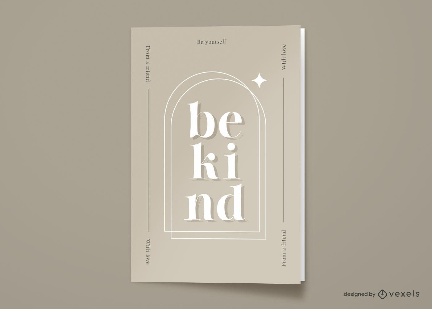 Sea amable tarjeta de felicitación minimalista