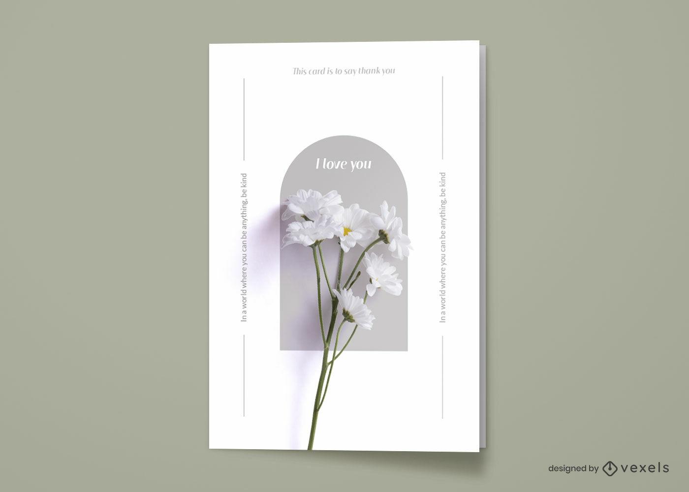 Tarjeta de felicitación fotográfica flor blanca