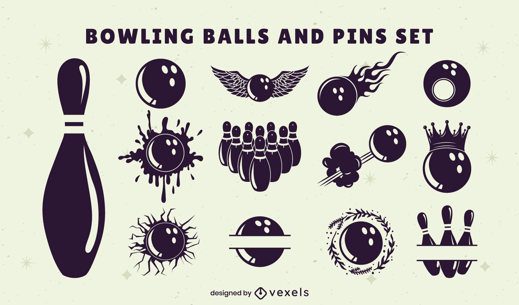 Conjunto de bolas e pinos de boliche
