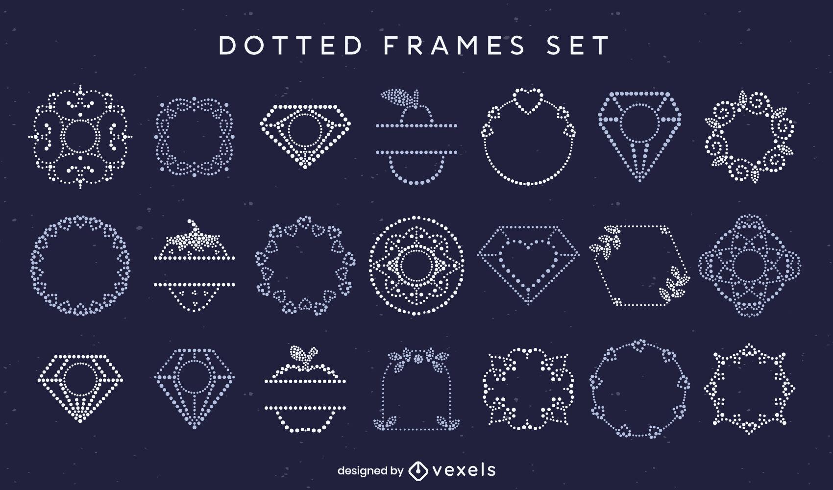 Einfaches Set mit gepunkteten Rahmenelementen