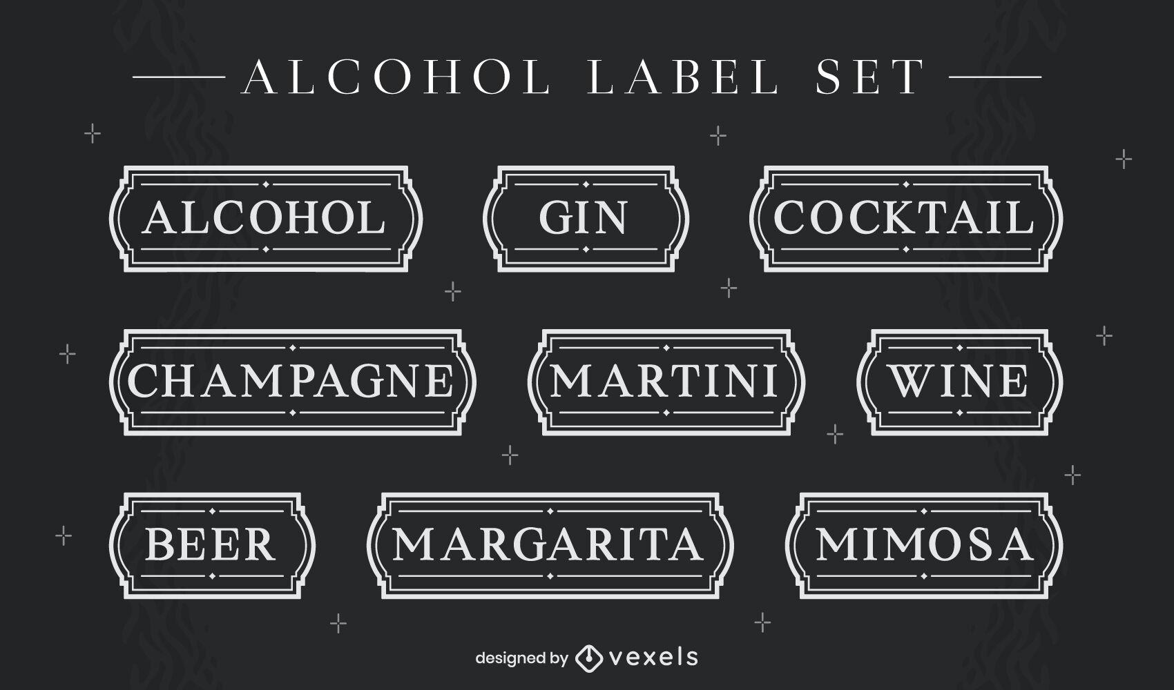 Conjunto de etiquetas de bebidas alcohólicas simples