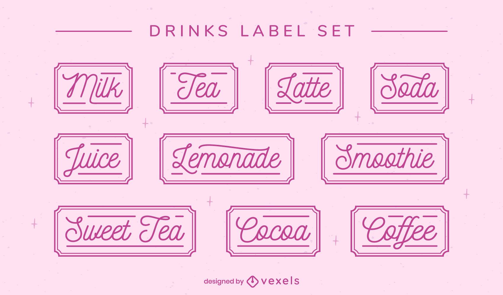 Conjunto de rótulos de bebidas com letras