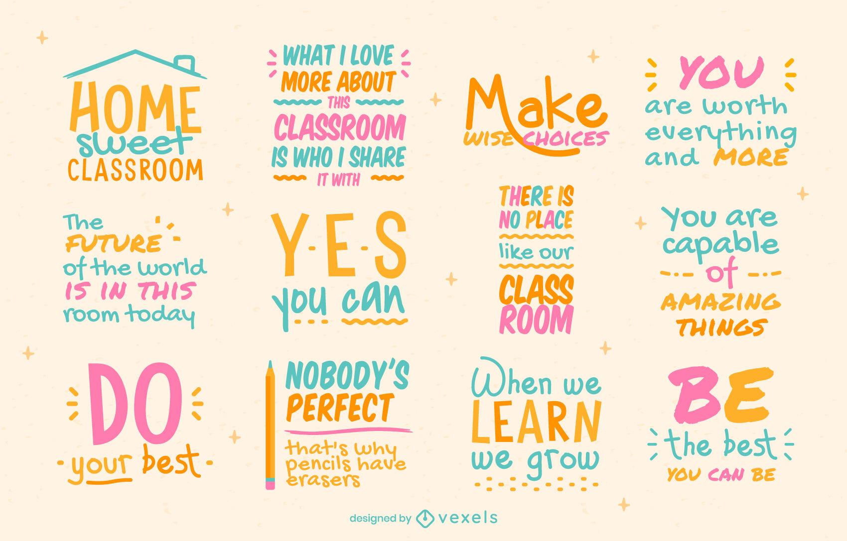 Crachás e citações para letras de educação