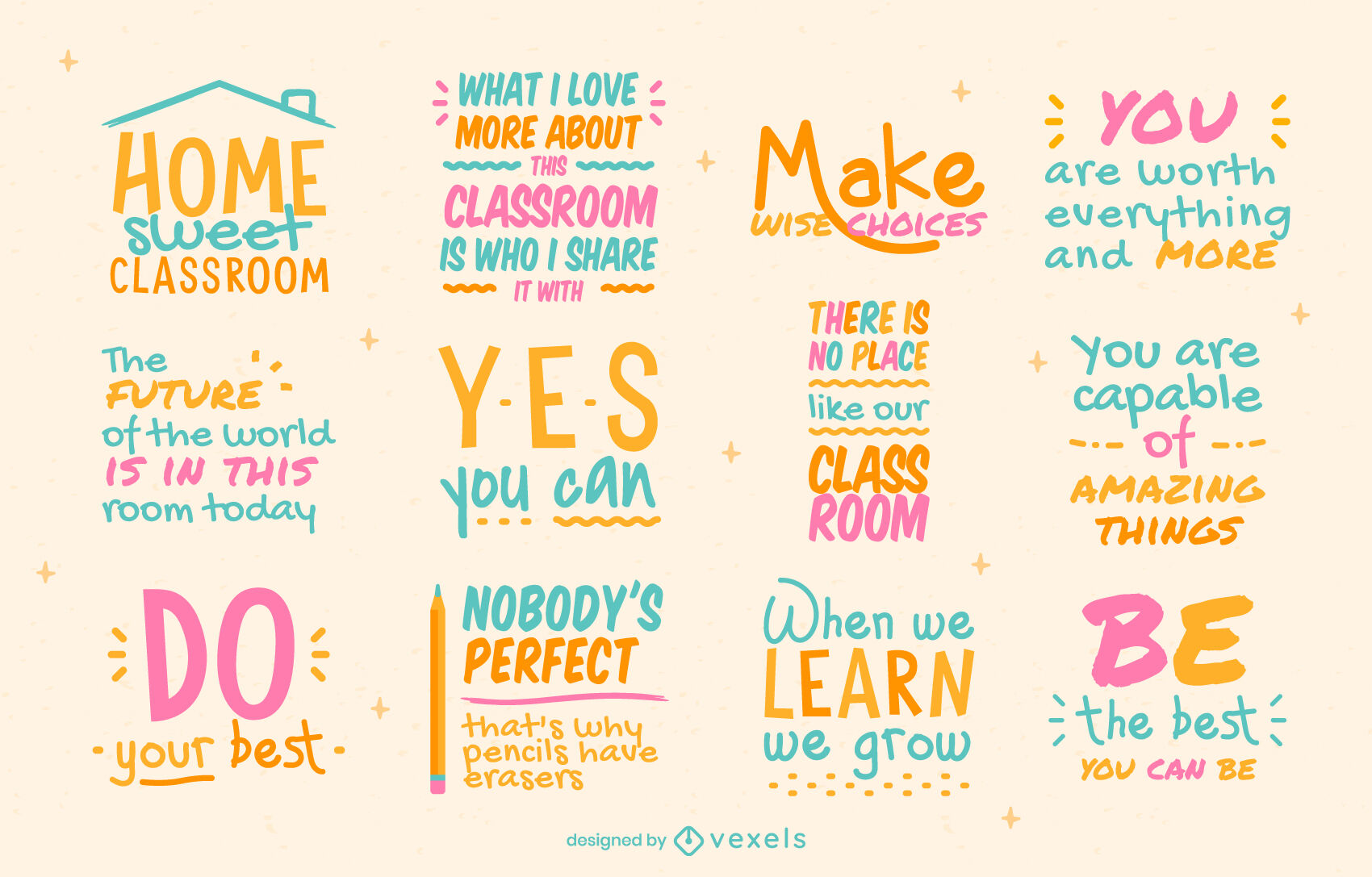 Education lettering badges and quotes