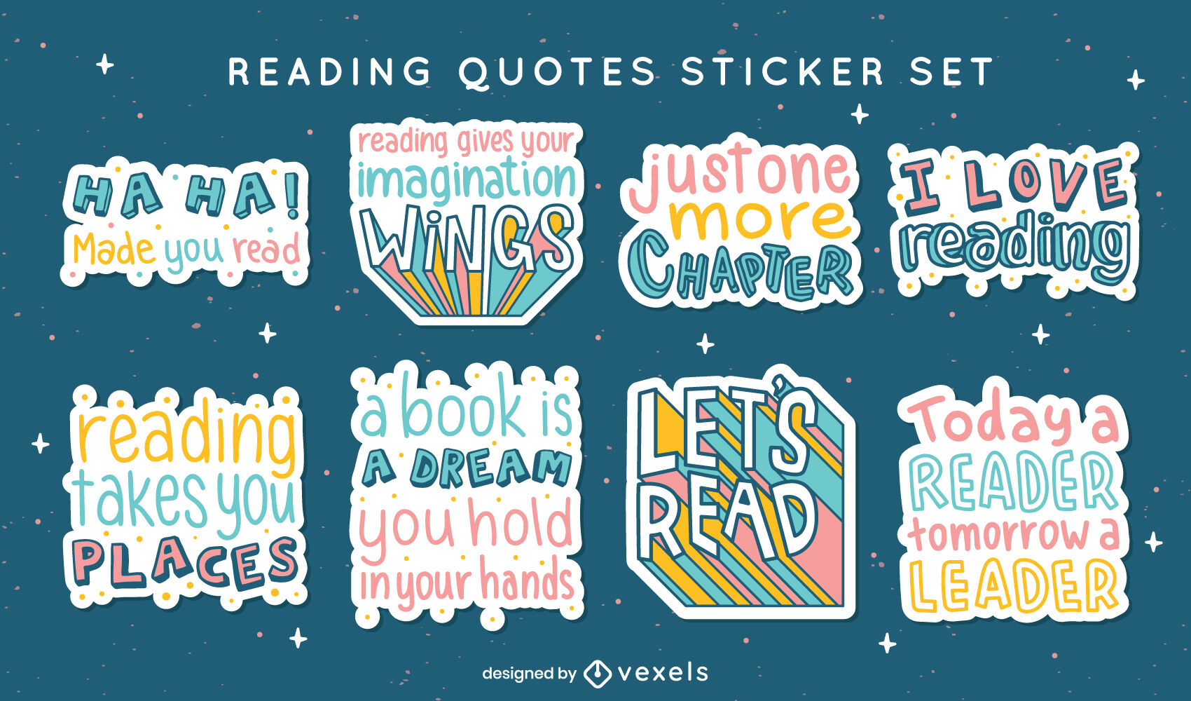Reading quotes in stickers set