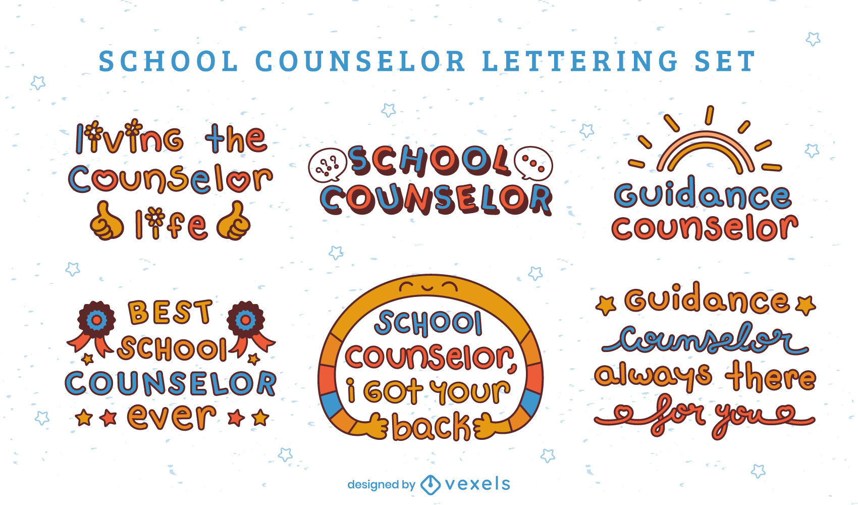 School counselor set of lettering quotes