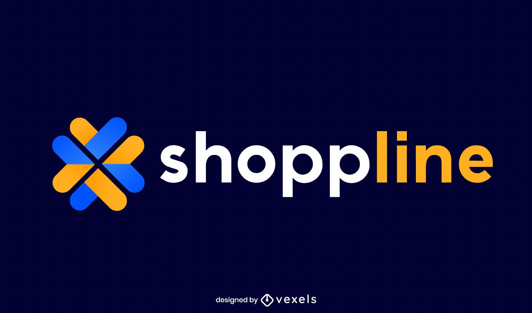 Logotipo plano de formas geométricas de compras