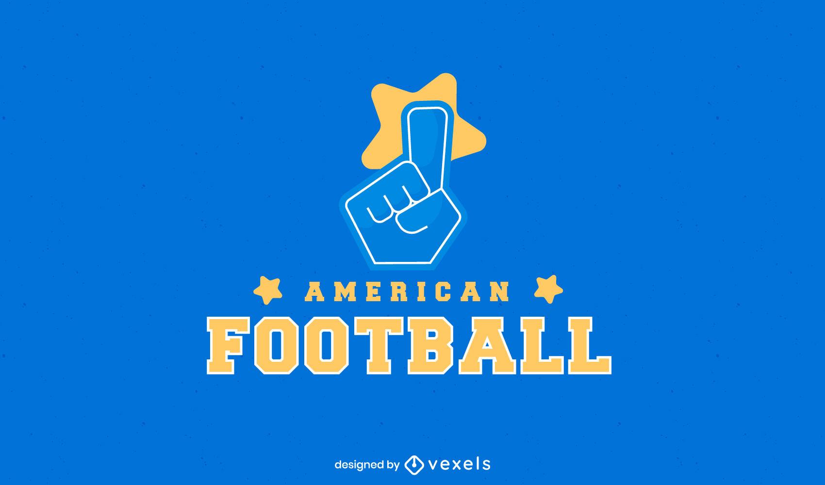 Logotipo do futebol americano de m?o em espuma
