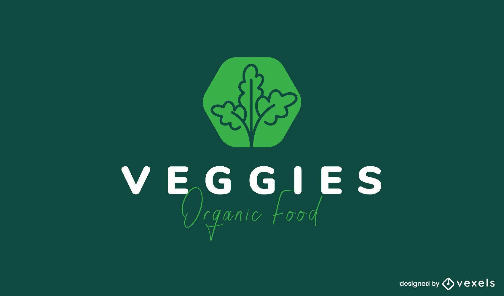 Logotipo de alimentos orgánicos vegetales