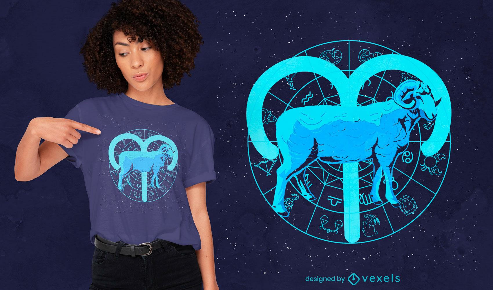 Design de camiseta com o signo do zodíaco de Áries