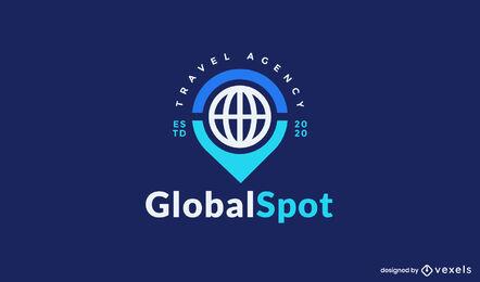 Plantilla de logotipo de ubicación de viaje de globo