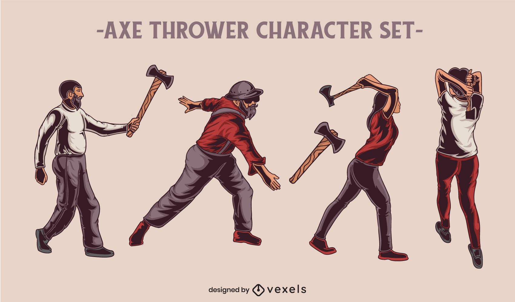 Axe weapon throwing hobby character set
