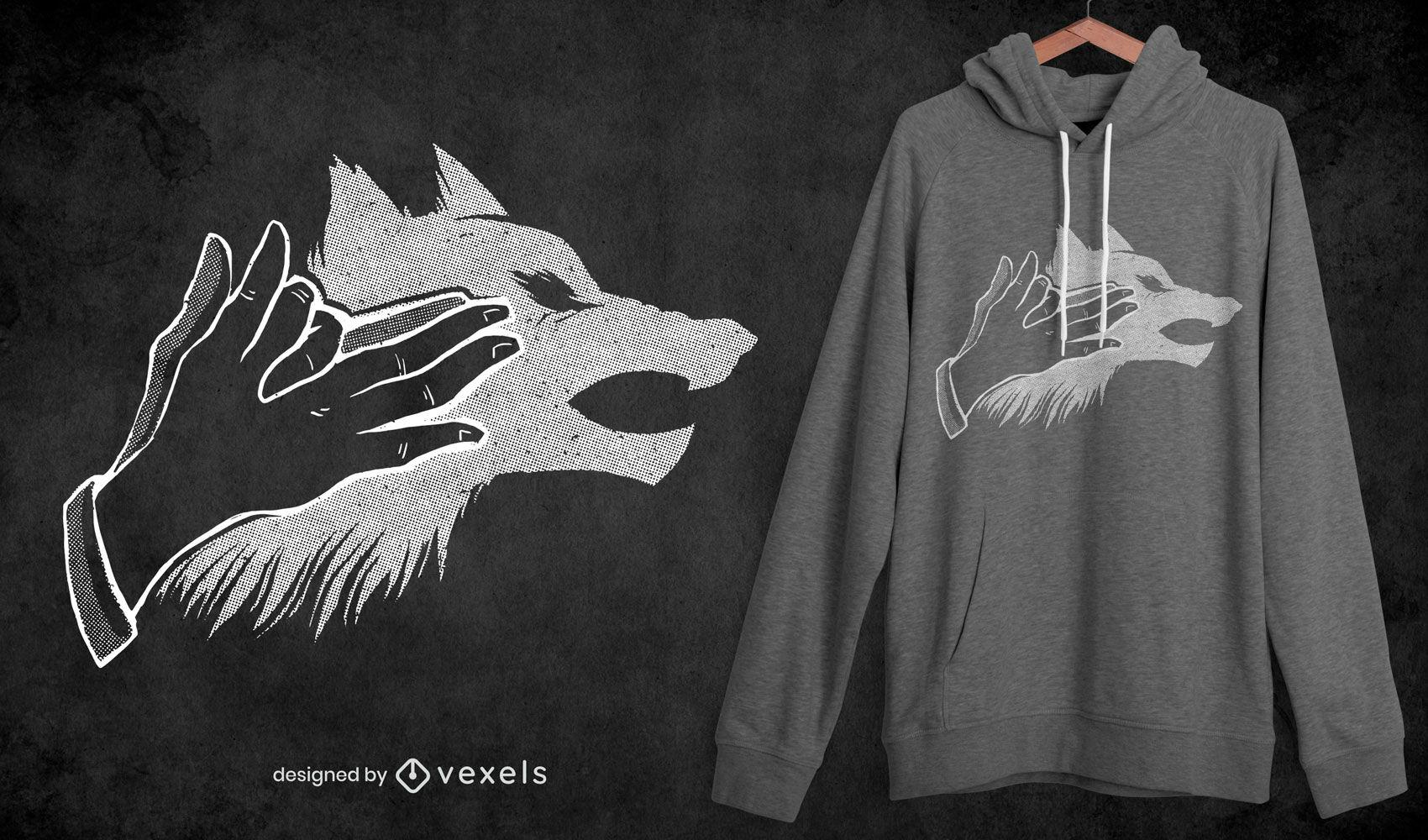 Design de t-shirt Wolf shadow