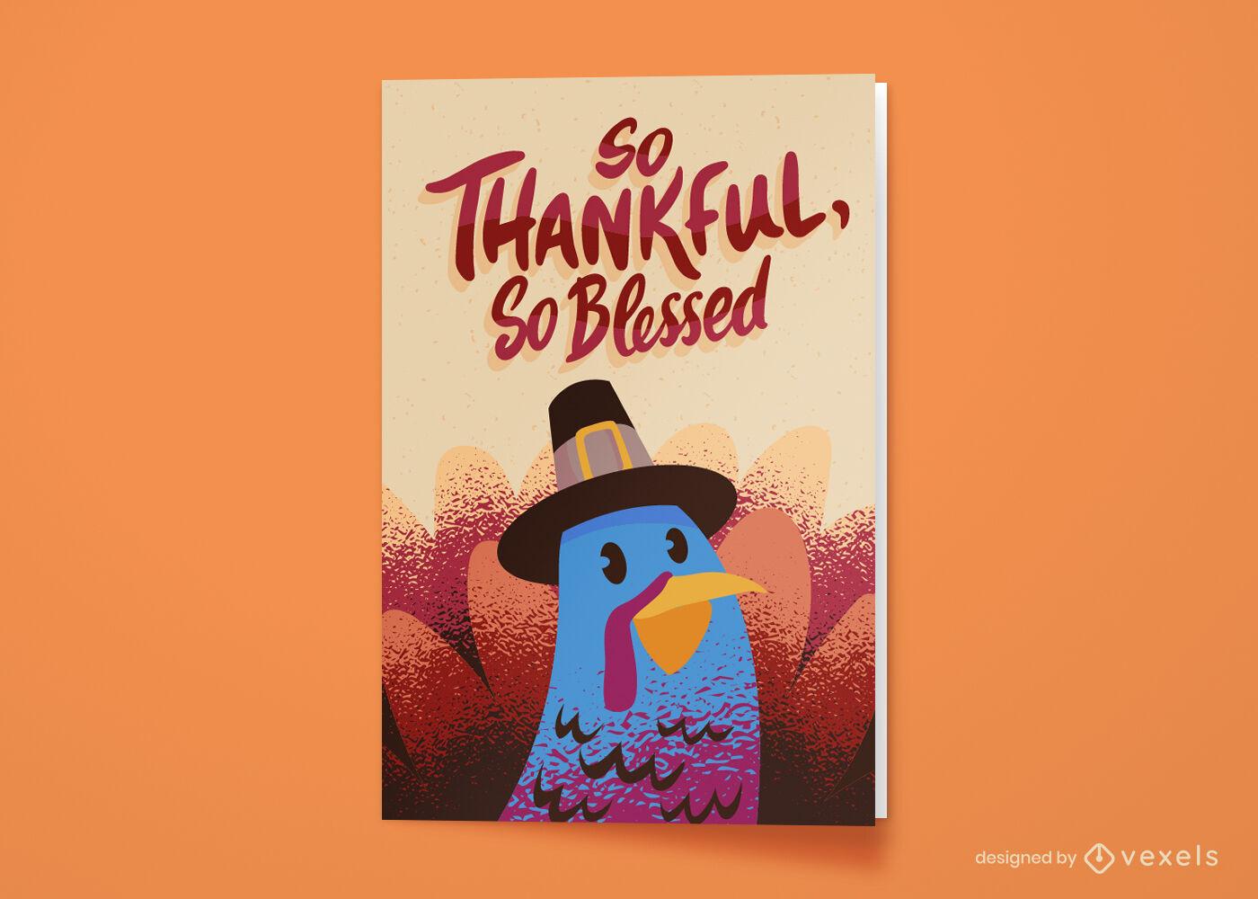 Tarjeta de felicitación de pavo de vacaciones de acción de gracias