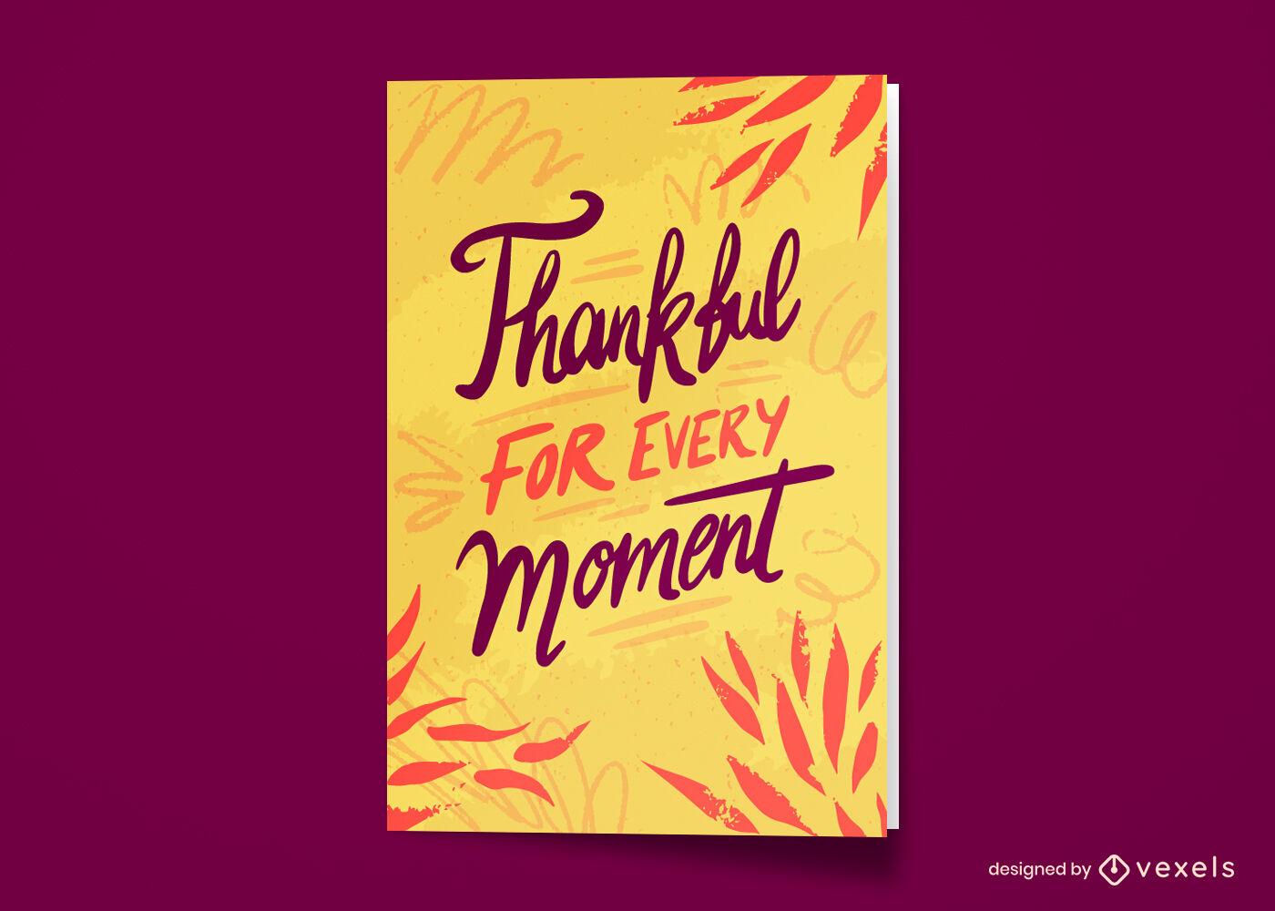 Tarjeta de felicitación agradecida de vacaciones de acción de gracias