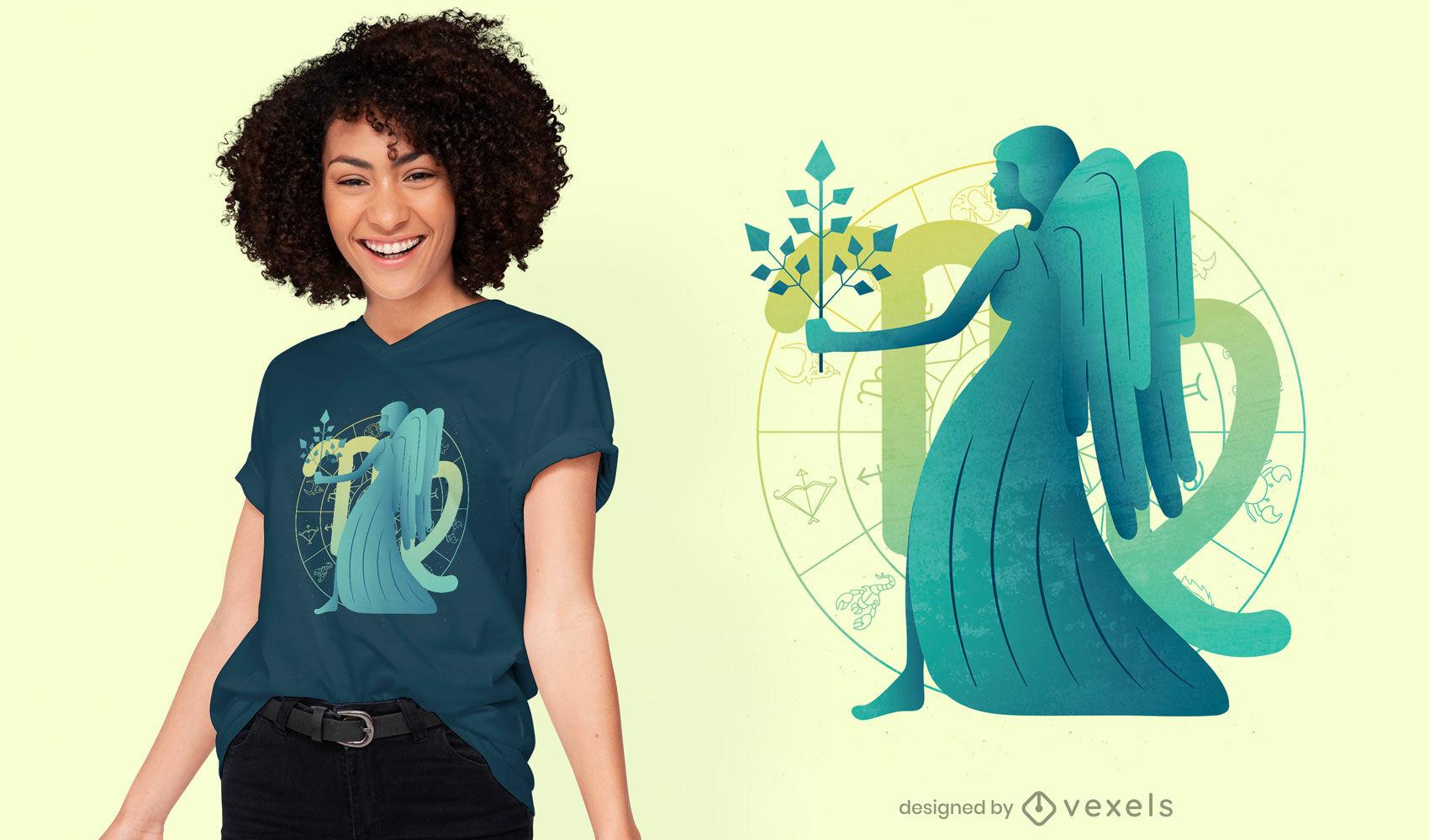 Design de camiseta com o signo do zodíaco de Virgem