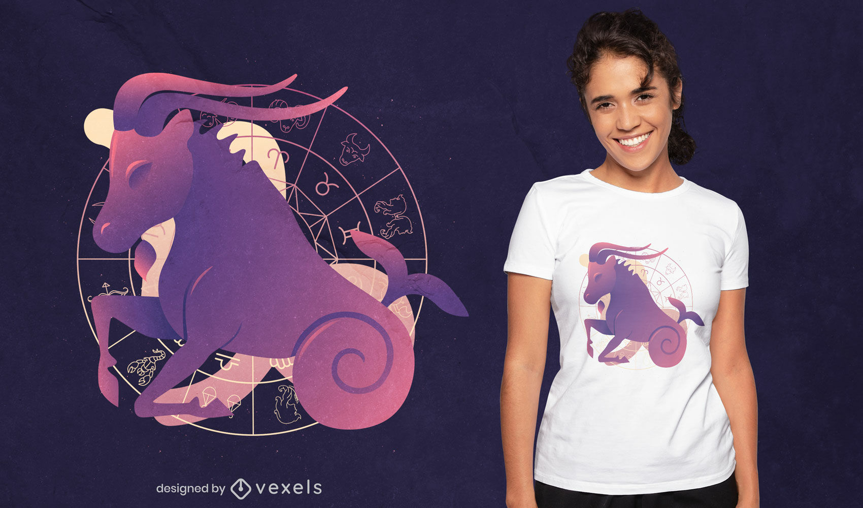 Diseño de camiseta de signo del zodiaco Capricornio