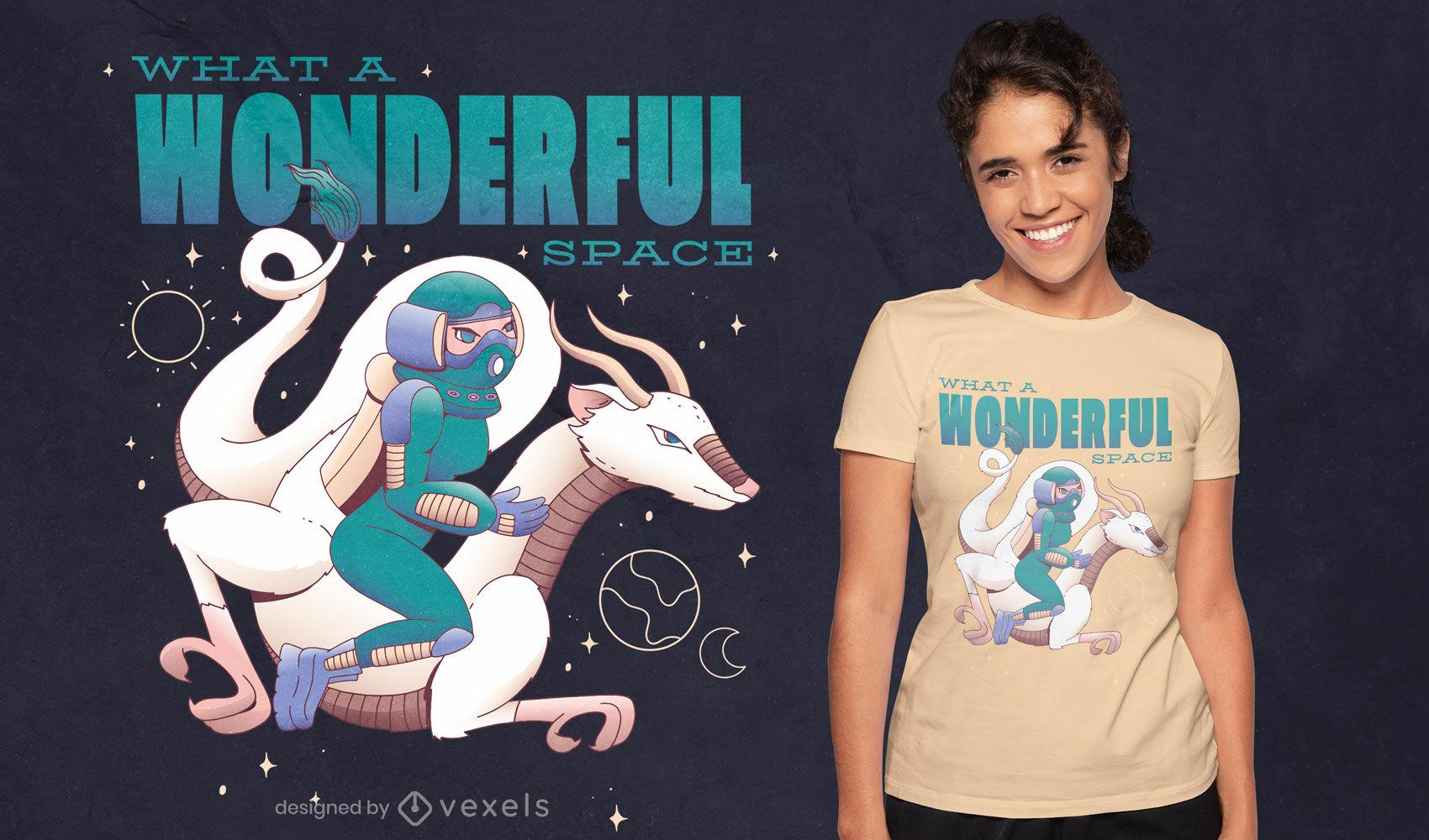 Astronaut creature space t-shirt design