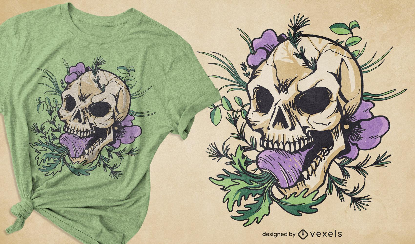 Design de camiseta com caveira de nabo