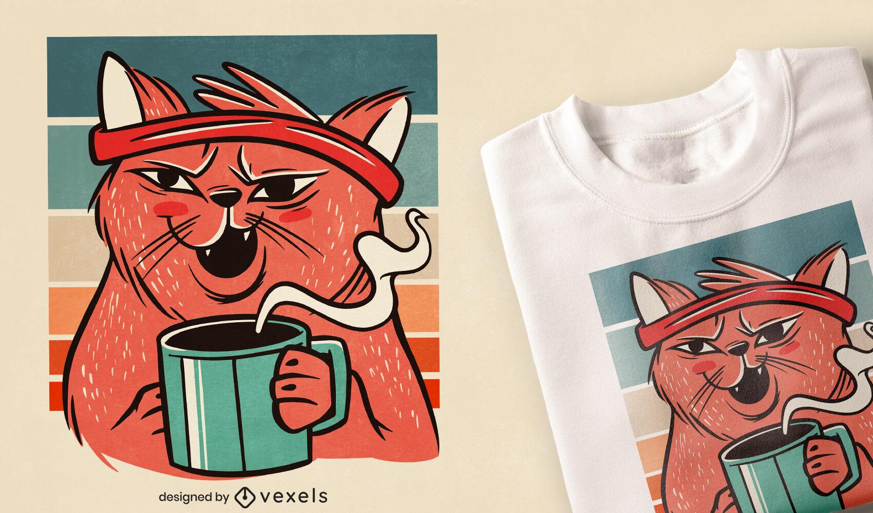 Diseño de camiseta de gato bebiendo café.