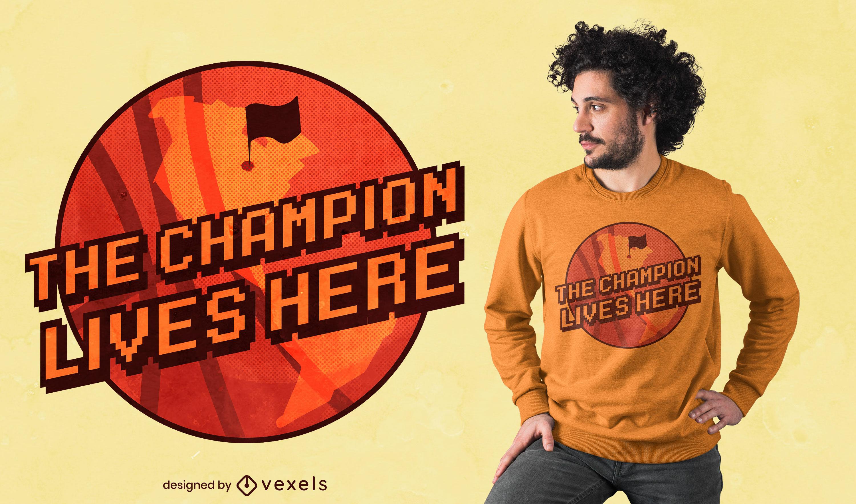 Design de camiseta do campeão de basquete