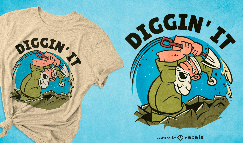 Cartoon miner old man t-shirt design