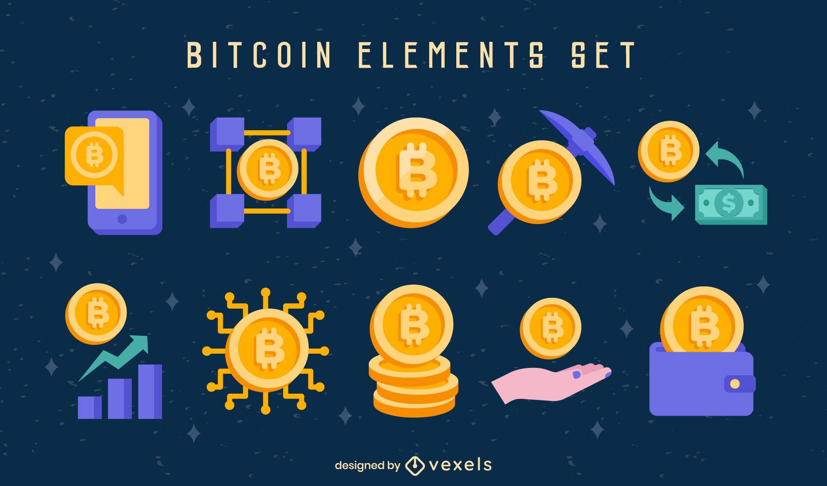 Conjunto semi plano de ícones Bitcoin