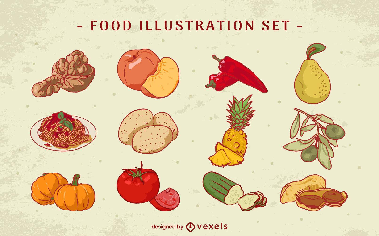 Conjunto de ilustração de elementos e ingredientes de alimentos