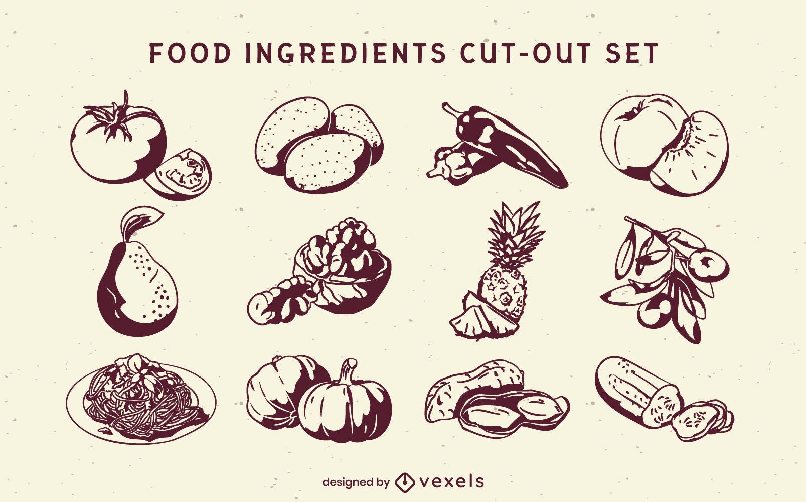Conjunto de alto contraste de elementos e ingredientes alimentarios.