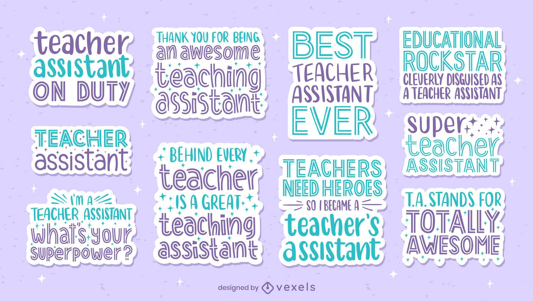 Conjunto de adesivos de citações do professor assistente