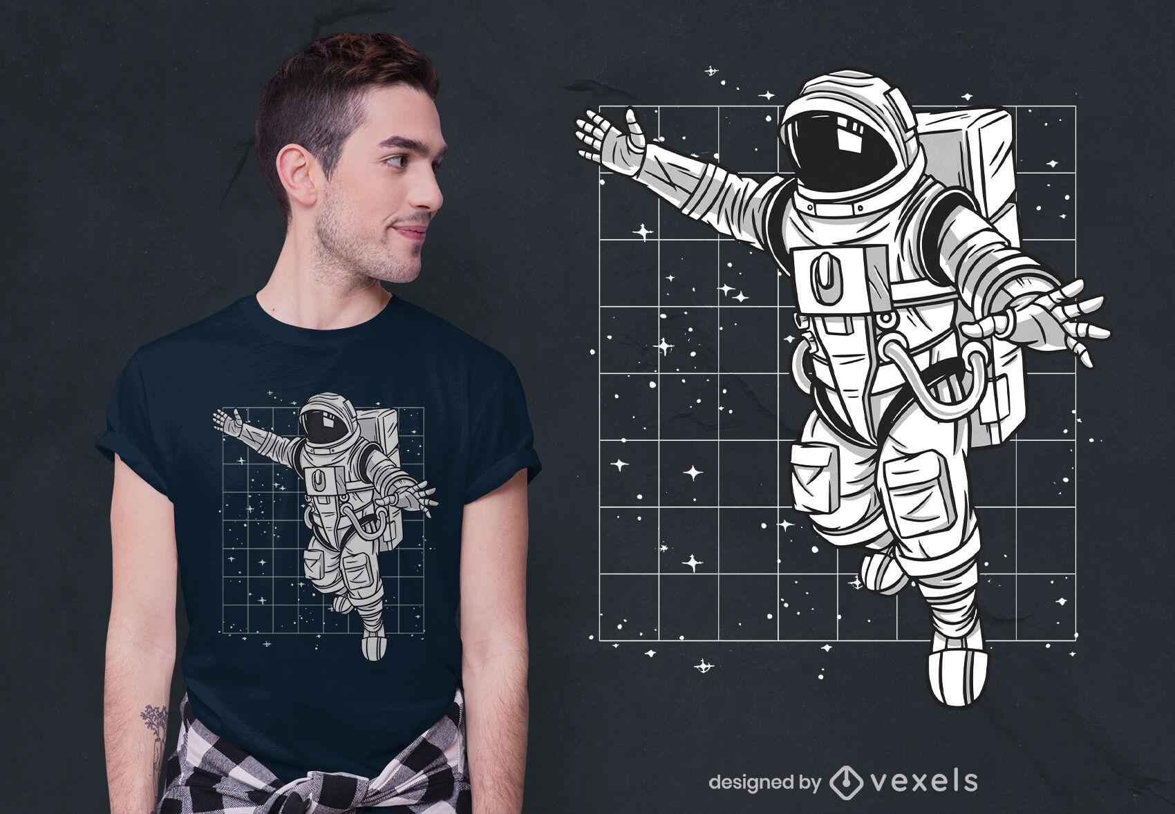 Diseño de camiseta flotante Spaceman.