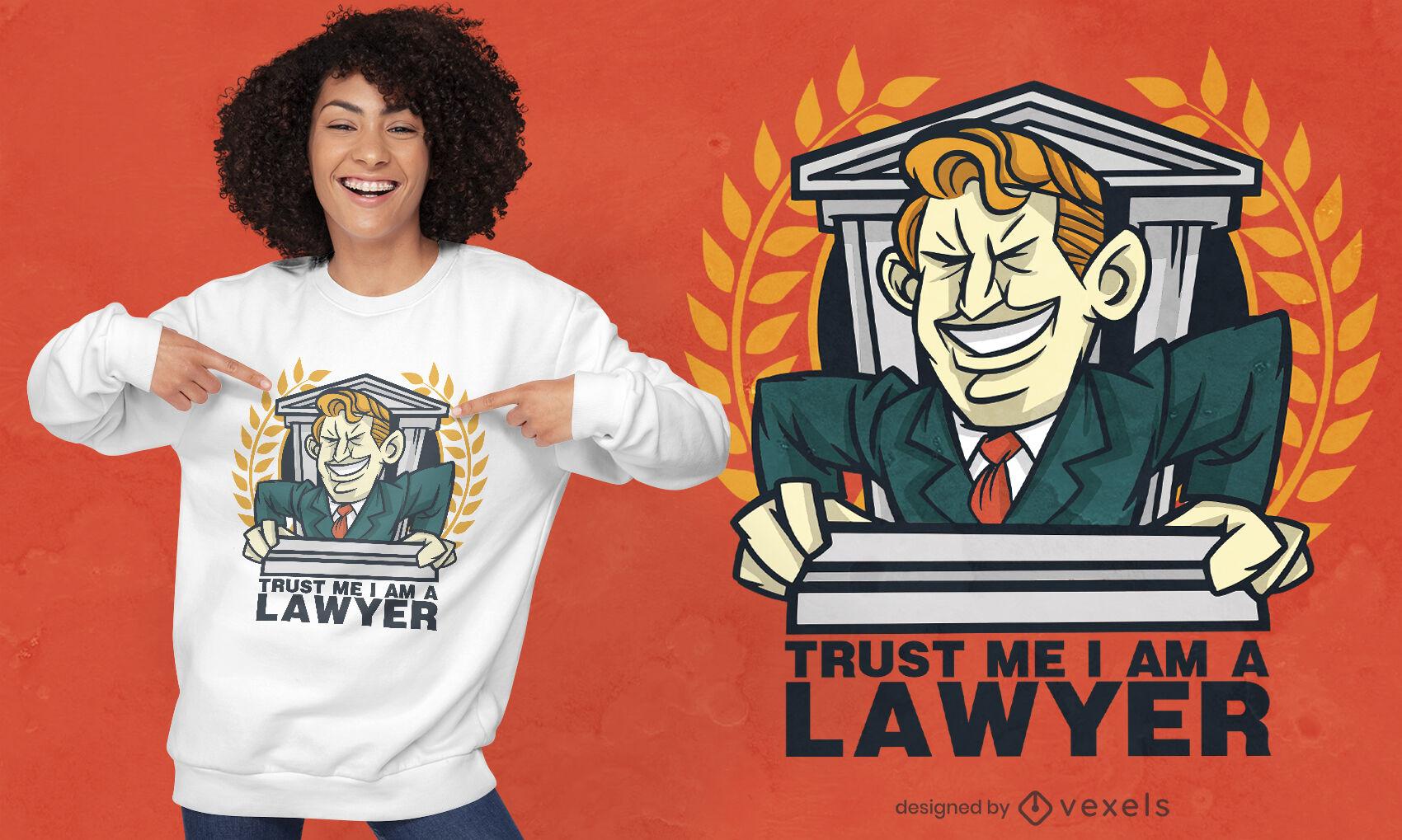 Diseño de camiseta de abogado de dibujos animados