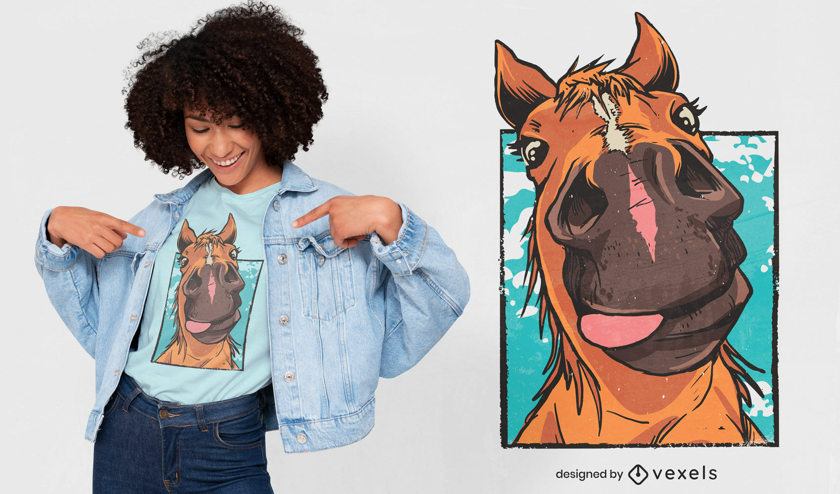 Diseño de camiseta de cerca de cara de caballo