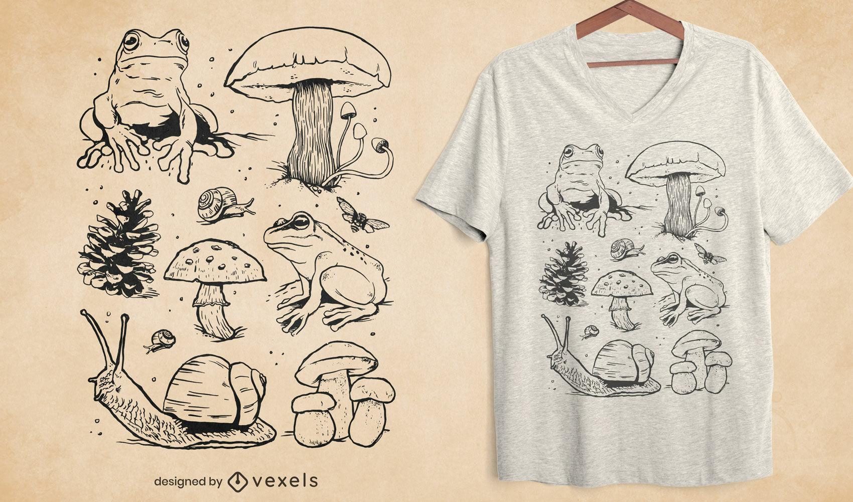 T-Shirt-Design mit Pilzen und Fröschen