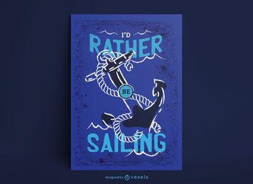 Plantilla de póster de vela de ancla oceánica