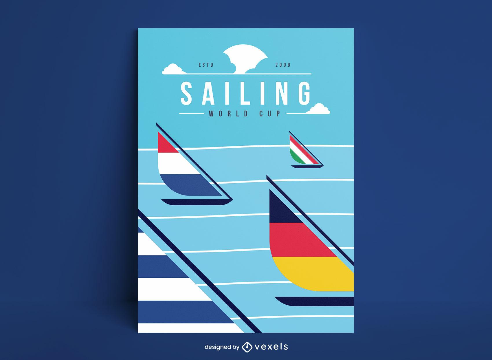 Diseño de carteles de banderas de países de carrera de veleros.