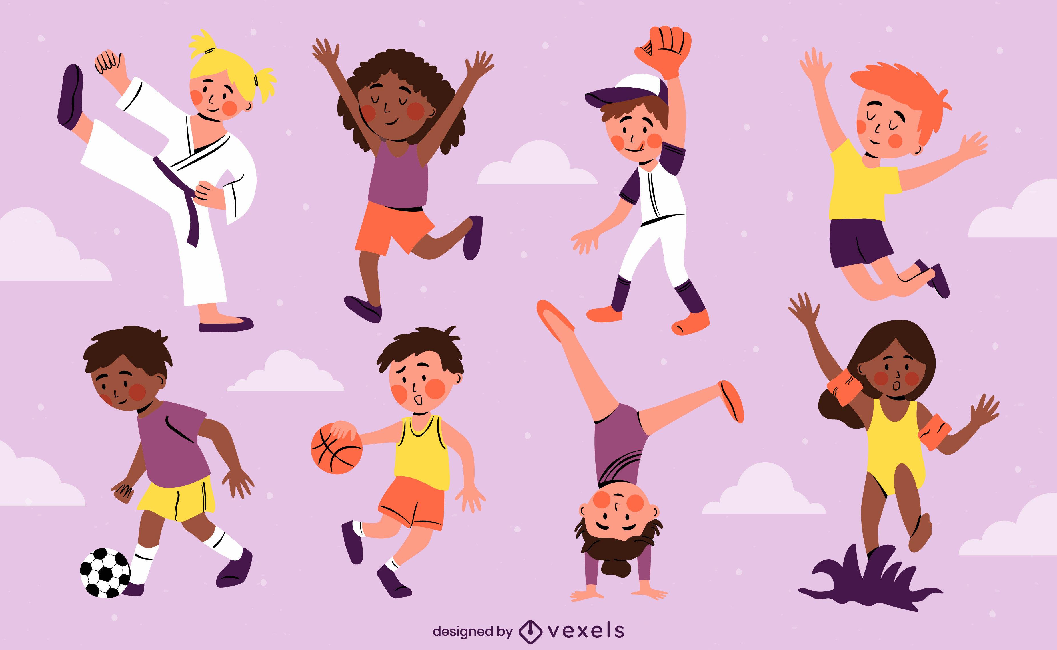 Conjunto de personagens de esportes infantis