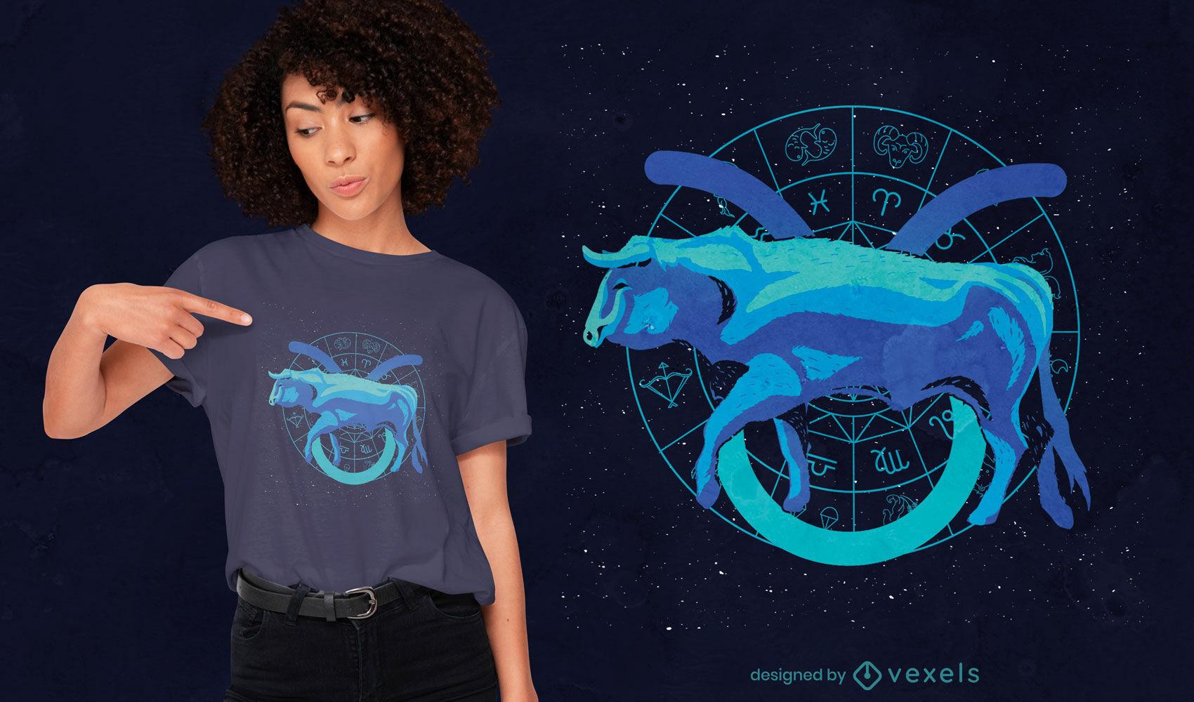 Design de camiseta com o signo do zodíaco de Touro