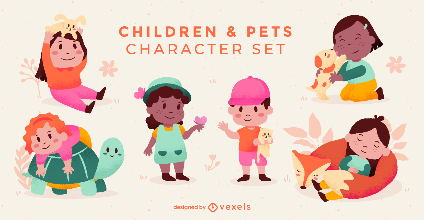 Children and pets characters set