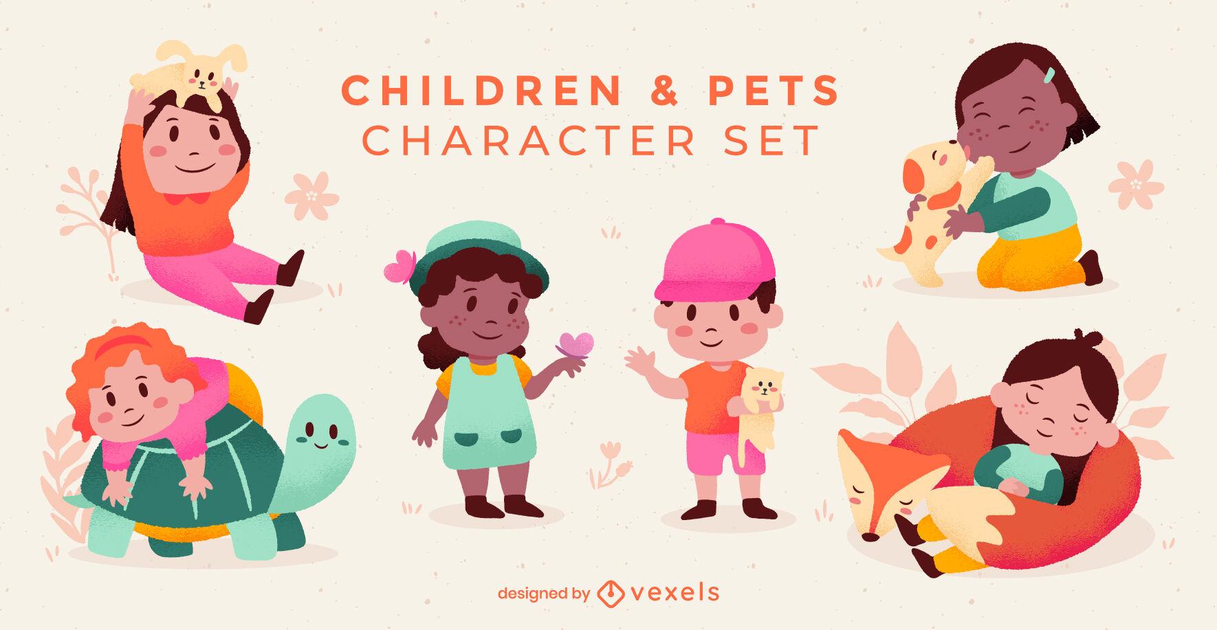 Conjunto de personajes de niños y mascotas.