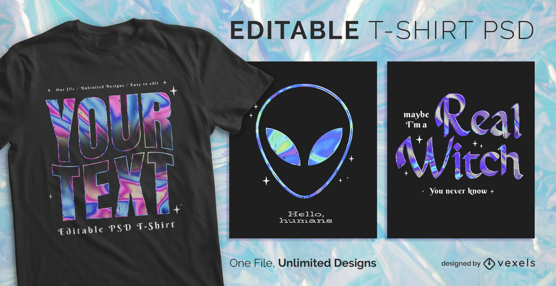 Dise?o de camiseta psd escalable con texto hologr?fico.