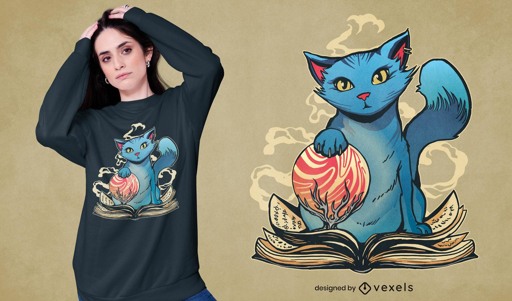 Gato mágico com design de camiseta de livro