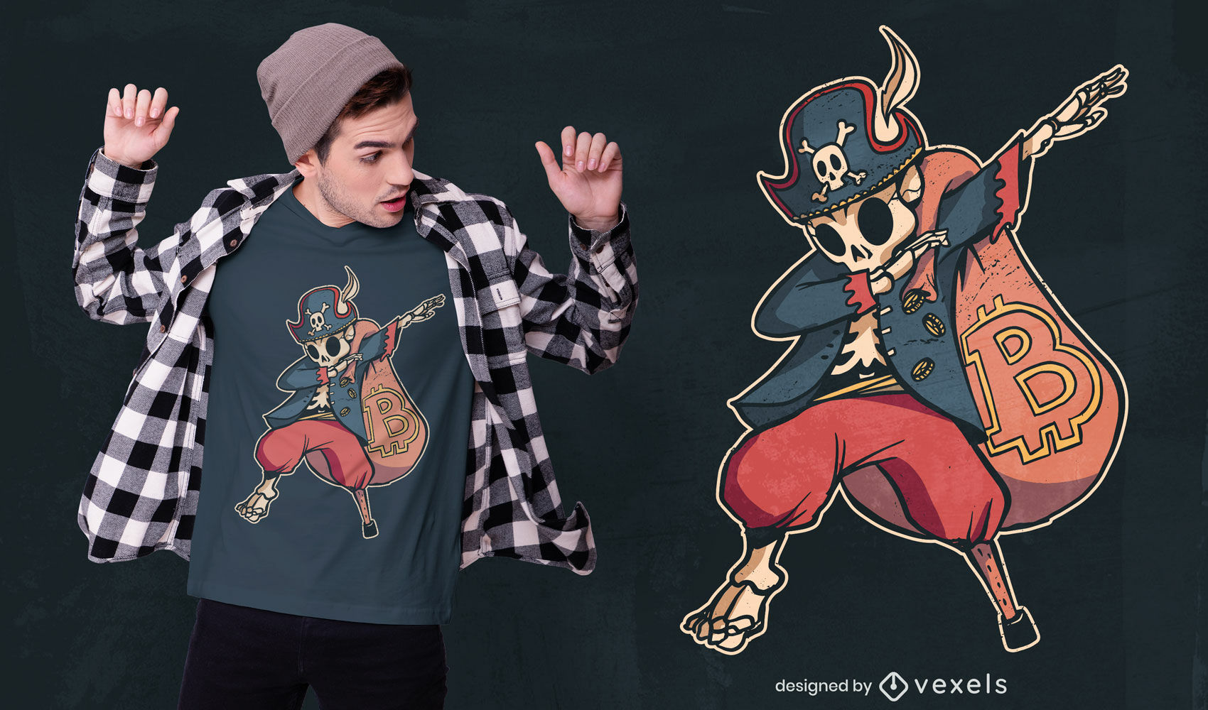 Dabbing bitcoin skeleton pirate diseño de camiseta