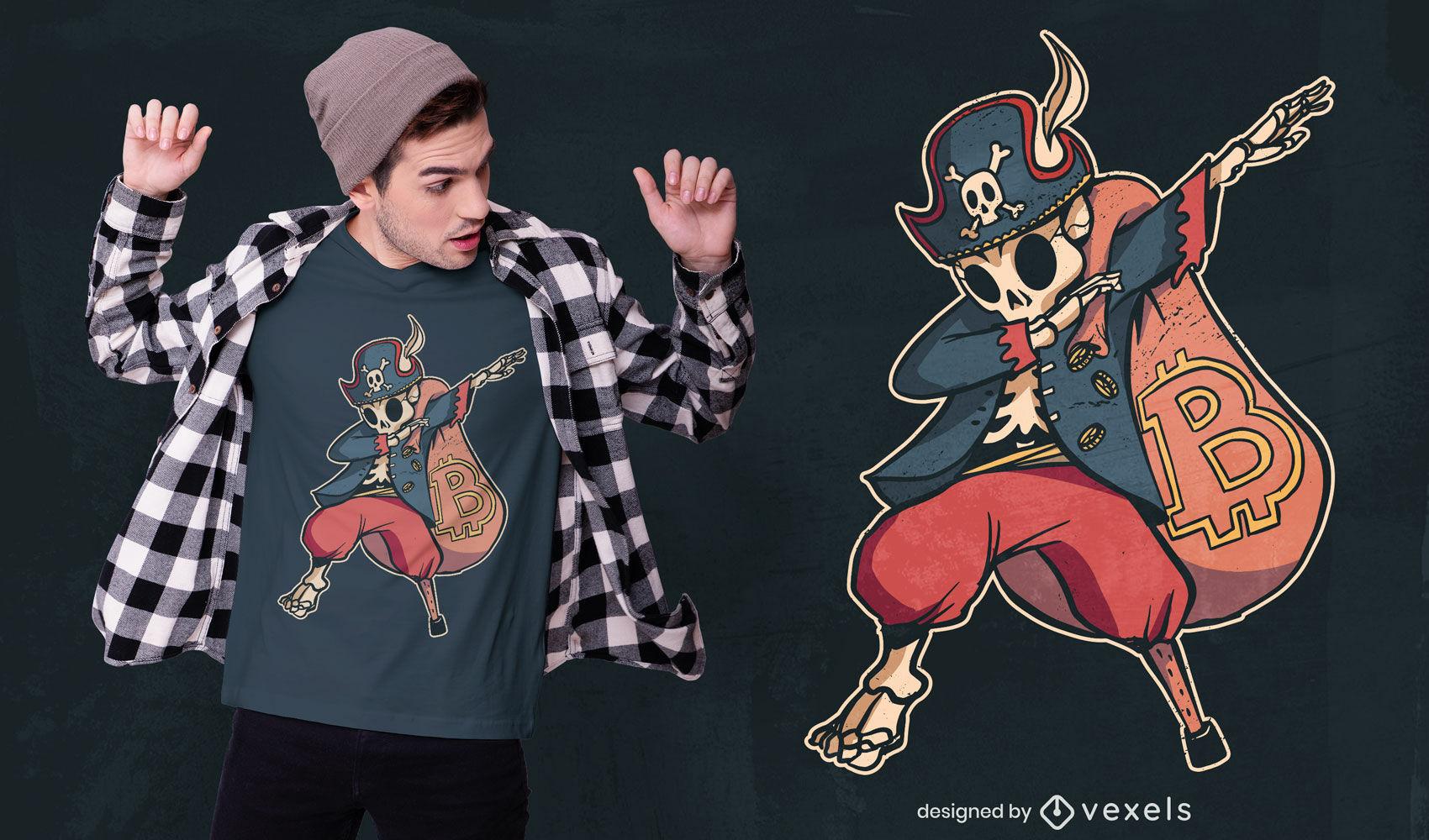 Dabbing design de t-shirt de pirata com esqueleto bitcoin