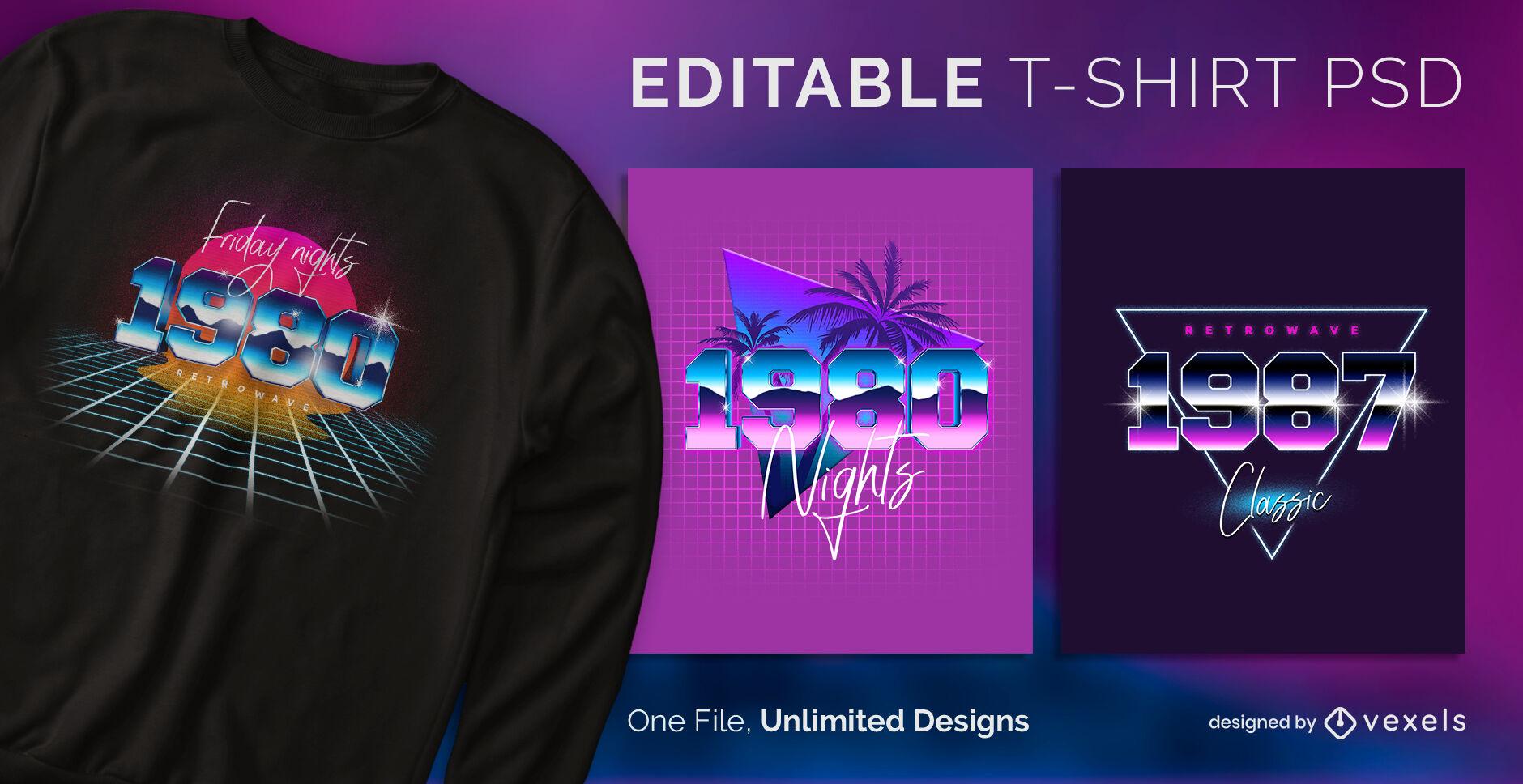Dise?o de camiseta retrowave neon escalable